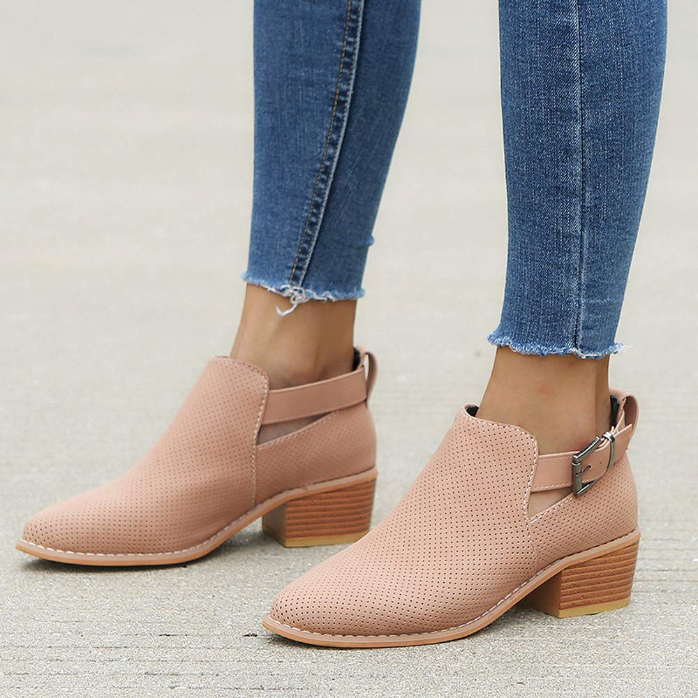 Memela Ankle Boots Toe Low Heel Solid Ankle ShoesBuckle Strap Square Heel Single Shoes