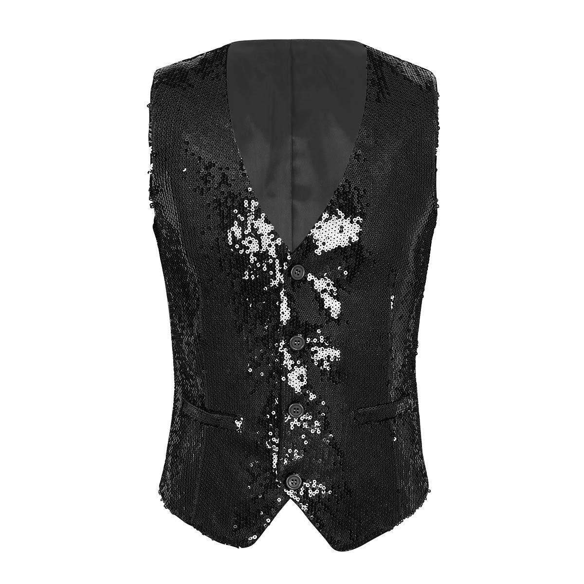 Freebily Men Sequin Suit Vest Waistcoat Sleeveless Nightclub Dance Party Clubwear