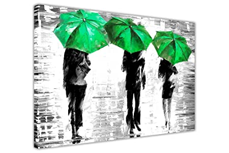 Canvas it up 3 green umbrellas by leonid afremov canvas wall art prints framed pictures black