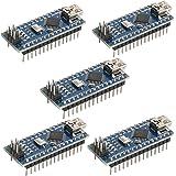 HiLetgo 5pcs Nano V3.0 ATmega328P 5V 16MHz CH340G Mini USB Micro-controller Development Board Bootloadered Welded Compatible to Arduino by HiLetgo
