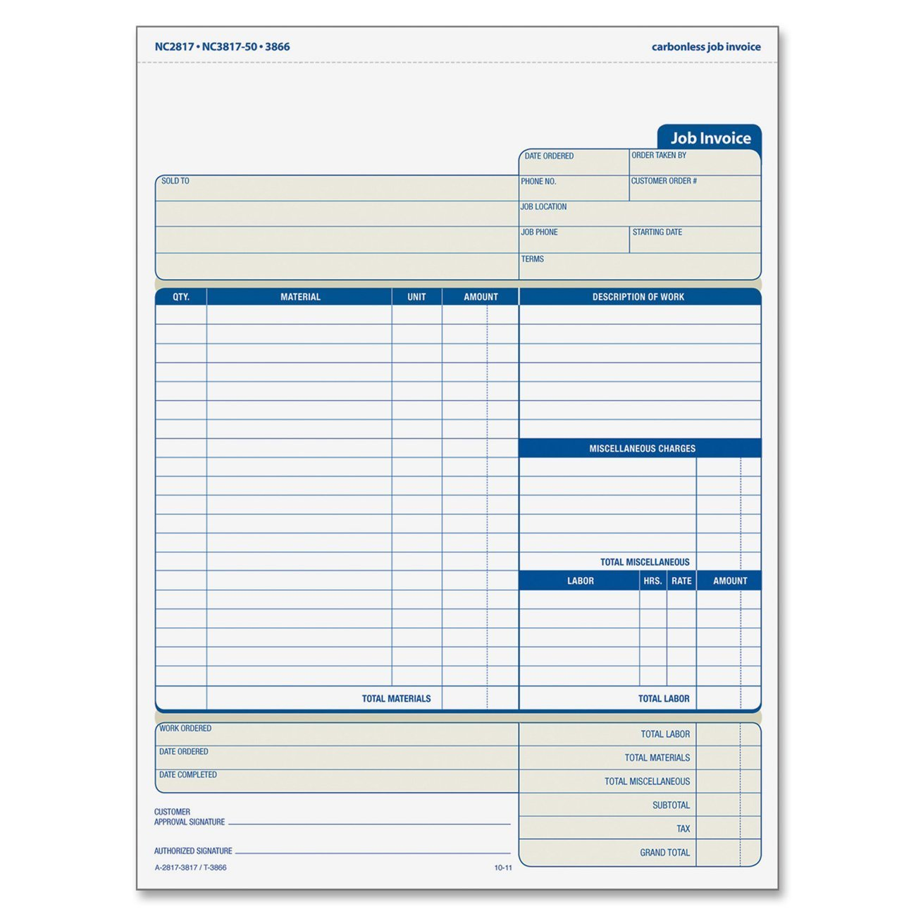 Amazoncom Adams Job Invoice Unit Set X Inch Part - Download free invoice template online fabric store coupon