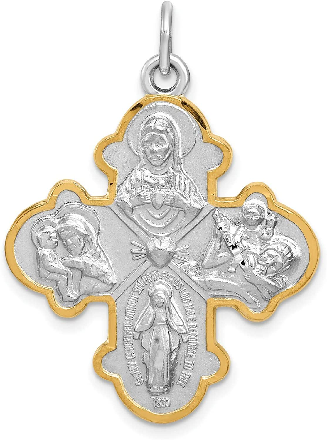 Sterling Silver Antiqued Budded Cross Pendant New Religious Charm 925