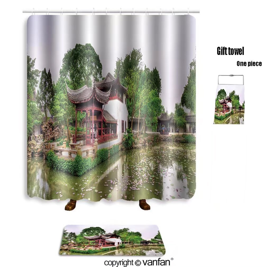 vanfan bath sets with Polyester rugs and shower curtain humble administrator s garden the largest gar shower curtains sets bathroom 66 x 72 inches&23.6 x 15.7 inches(Free 1 towel and 12 hooks)