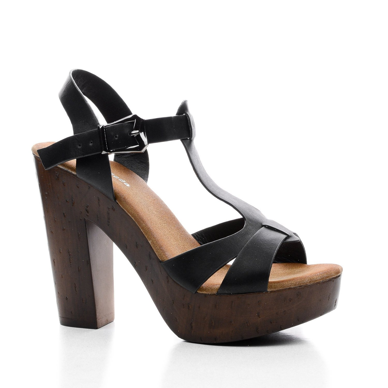 Top Moda Womens Pony-9 T-Strap Faux Wooden Platform Chunky Heel Sandals,Black Pu,6.5
