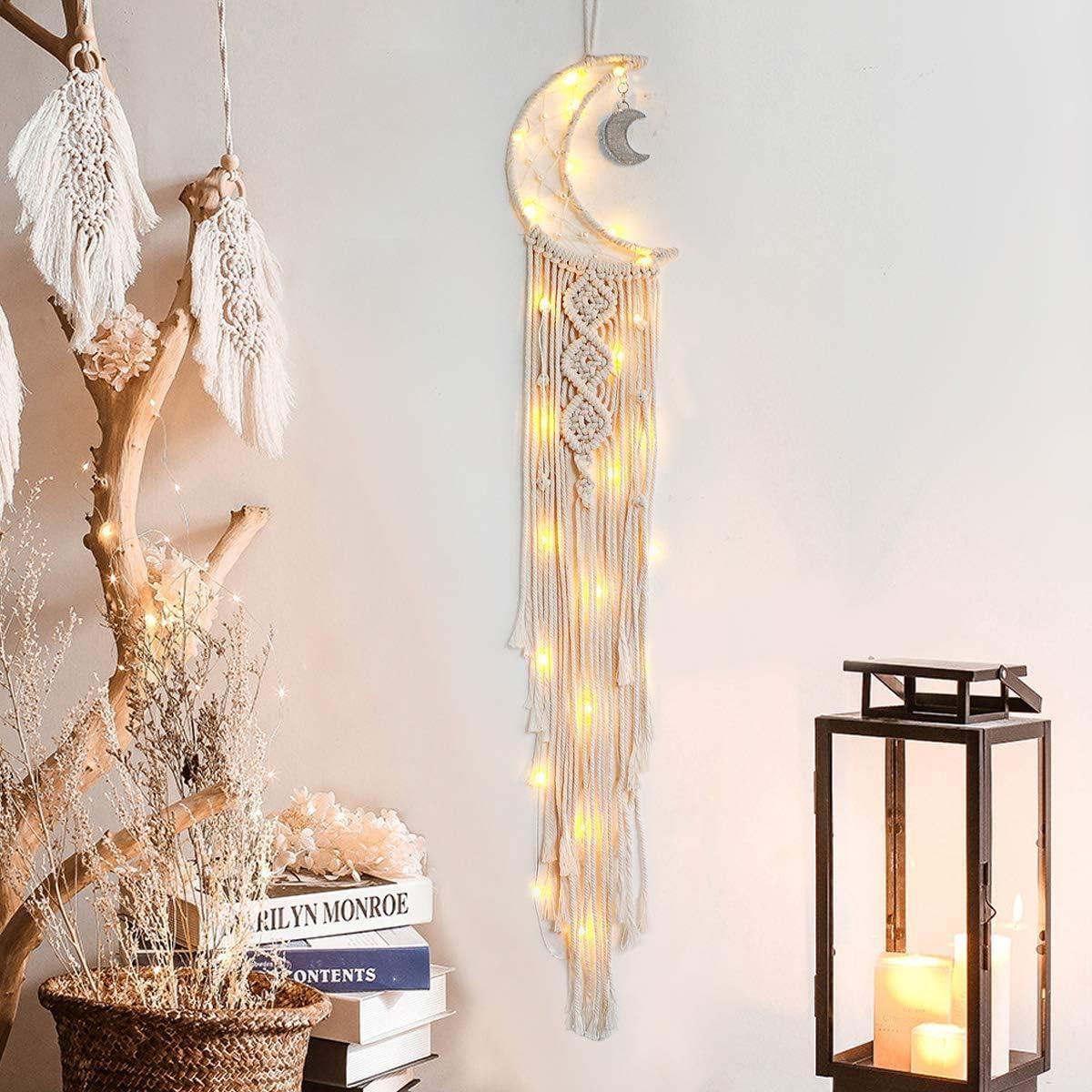 Fait main Cadeau artisanal D/écoration de maison LOMOHOO Attrape-r/êves Grand mur Attrape-r/êves en macram/é Plume tiss/ée