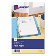 Avery 14230 Mini Binder Filler Paper, 5-1/2 x 8 1/2, 7-Hole Punch, College Rule (Pack of 100)