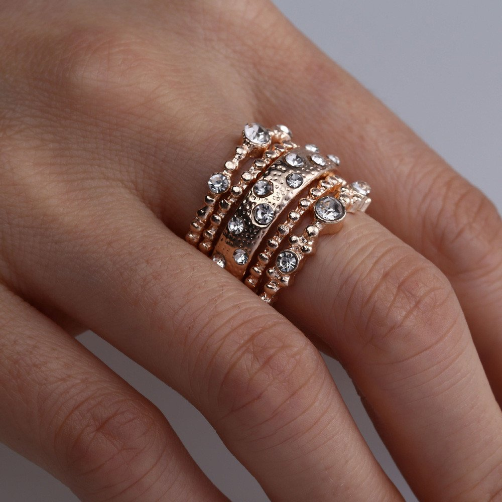 Uscharm Rose Gold Stackable Ring 5 Sparkly Rings Gold Womens Rings For Girls (GD6) by Uscharm (Image #2)