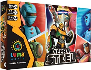 Luma World Alpha Steel STEM Strategy Board Game for 10+ Years to Improve Numbers, Develop Multiple Intelligences, Has Robot Cards and Fantasy Currency, 30-45 Minutes Game and 3-4 Players