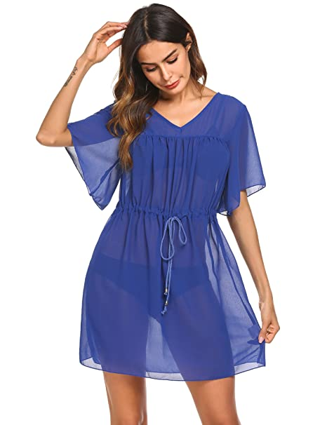 abf4f6ef7b418 Wildtrest Women's Bathing Suit Cover Up Chiffon Bikini Swimsuit Swimwear  Beach Dress Royal Blue S