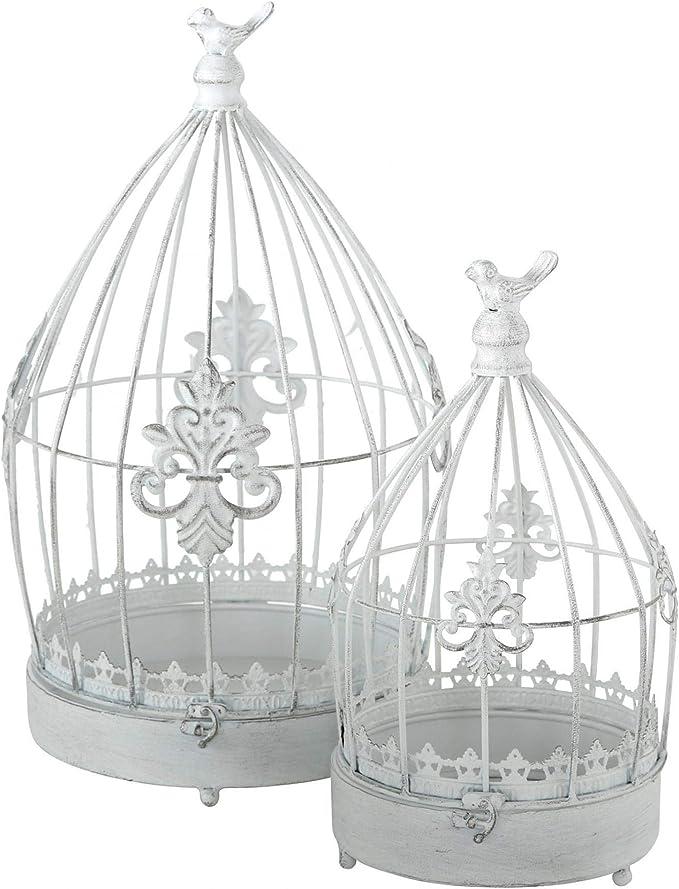 CasaJame Hogar Muebles Decoración Accesorios Adornos Design Juego de 2 Jaulas Decorativas para Pájaros Shabby Chic Vintage Style Hierro Blanco A32-44cm