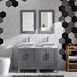 """48"""" Double Sink Bathroom Vanity Cabinet Combo Glass、Marble Top Grey Paint Wood w/Faucet, Mirror&Drain Set (Solid Wood…"""