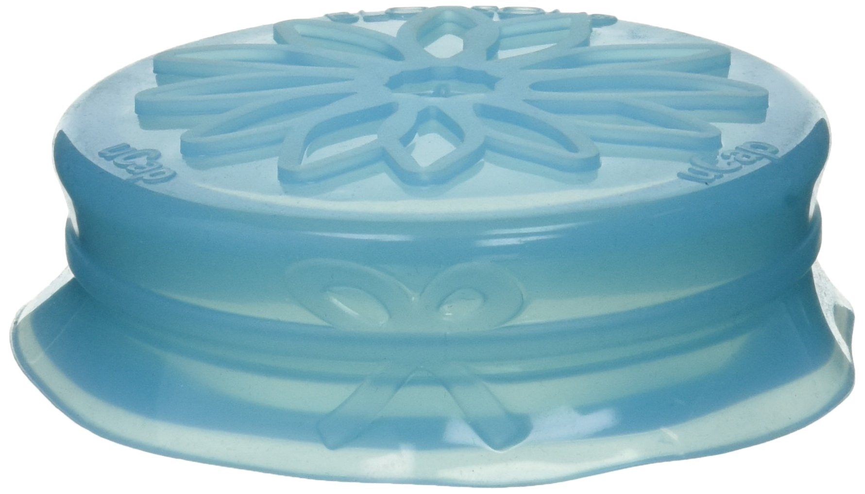 Blossom Mason and Canning Jar Sipping and Drinking Lid Caps, Silicone, For Standard Size Mason Jars, 3.5-Inches; Blue; 1-Lid