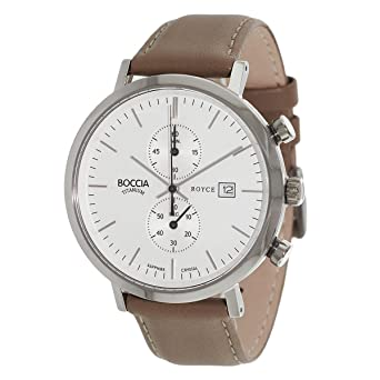Boccia 3752-01 braunes Lederarmband Chronograph