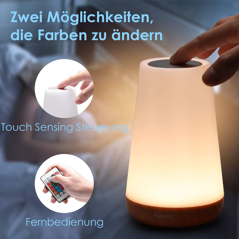 Lampe Nuit Tactile avec 13 Couleurs Changeantes Auxmir Veilleuse LED Lampe de Table Rechargeable avec Lumi/ère Blanche Chaude pour Chambre /à Coucher Salle de B/éb/é et Salon Lampe de Chevet Color/ée