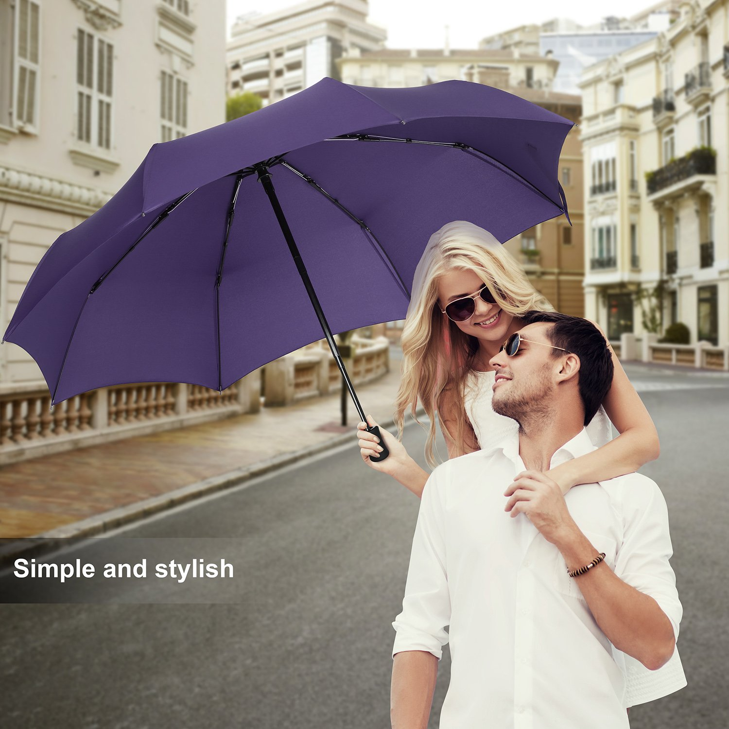 QHUMO Compact Travel Umbrella Windproof, Auto Open Close Umbrellas for Women Men by QHUMO (Image #7)