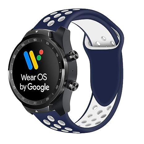 Ceston Deporte Silicona Clásico Correas para Smartwatch TicWatch Pro (Azul + Blanco)