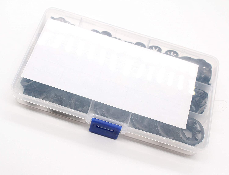M3 M4 M5 M6 M8 M10 M12 65 Manganese Internal Tooth Starlock Push on Locking Washers Assortment Kit,Metal Quick Speed Locking Washers,Black Oxide Finish,Push-on Locking Washer Fastener 580pcs