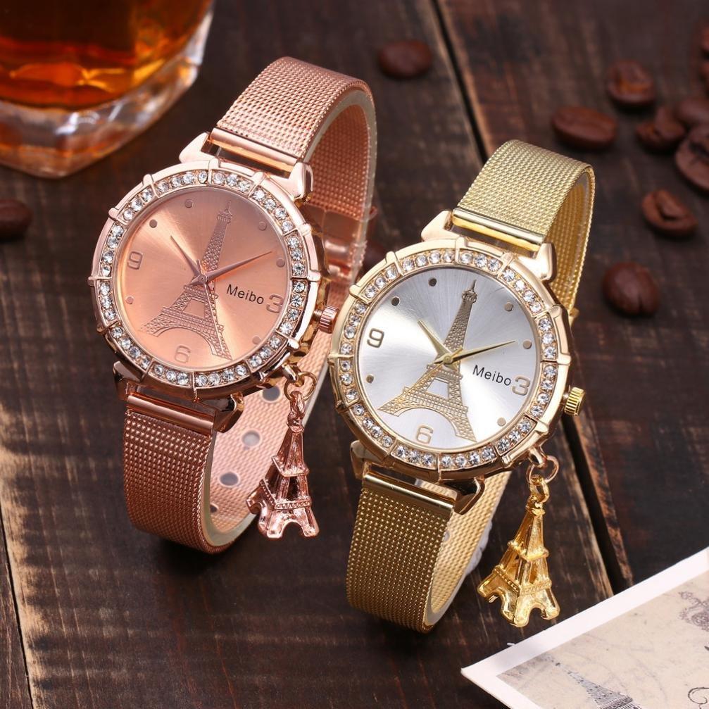 Hemlock Eiffel Tower Pendant Watches, Women Girls Stainless Steel Rhinestone Wrist Watch (Gold) by Hemlock (Image #3)