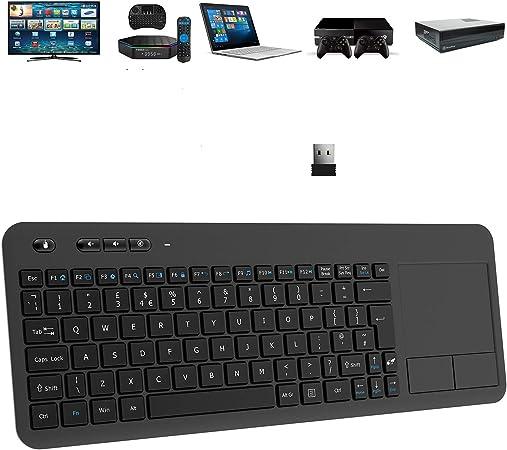 TedGem Teclado inalámbrico 2,4 G con teclado táctil inalámbrico, teclado táctil suave y ergonómico, teclado táctil de PC, teclado con nano receptor ...