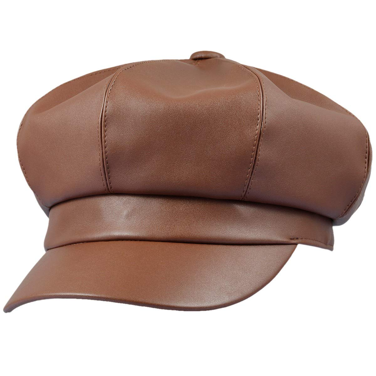 Sportmusies 8 Panels Newsboy Caps for Women PU Leather Cabbie Painter Hat Gatsby Ivy Beret Cap