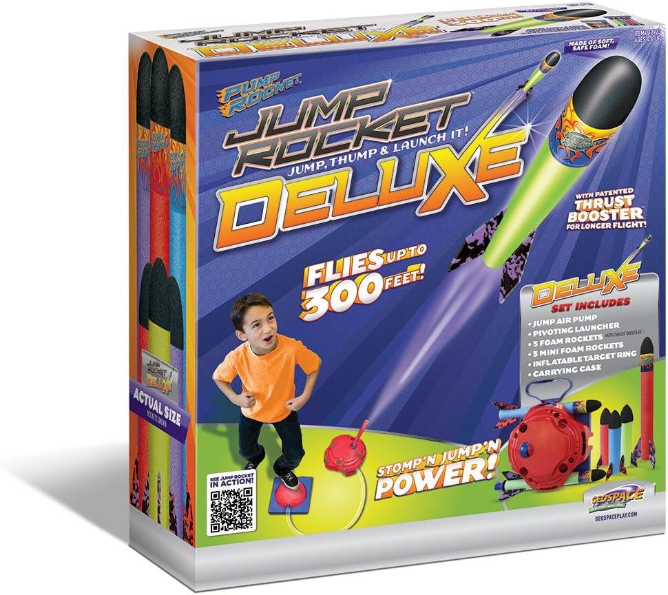 Geospace Jump Rocket Deluxe Set with Adjustable Launcher, Target & 6 Rockets