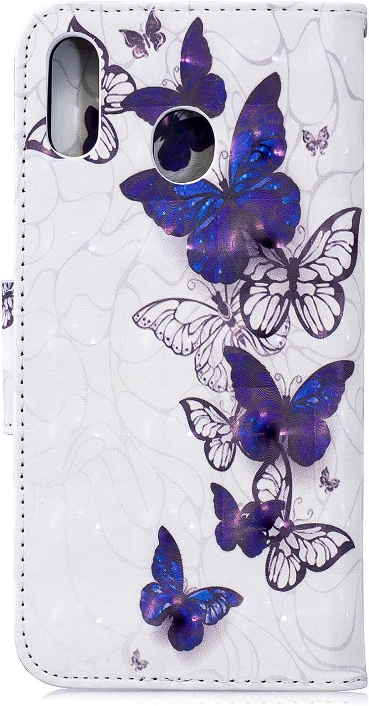 HMTECH Galaxy A70 Case Samsung Galaxy A70 Cover Colorful Butterfly PU Leather Flip Notebook Wallet Case Magnetic Stand Card Slot Folio Bumper Case for Samsung Galaxy A70,BF 3D Blue White Butterfly
