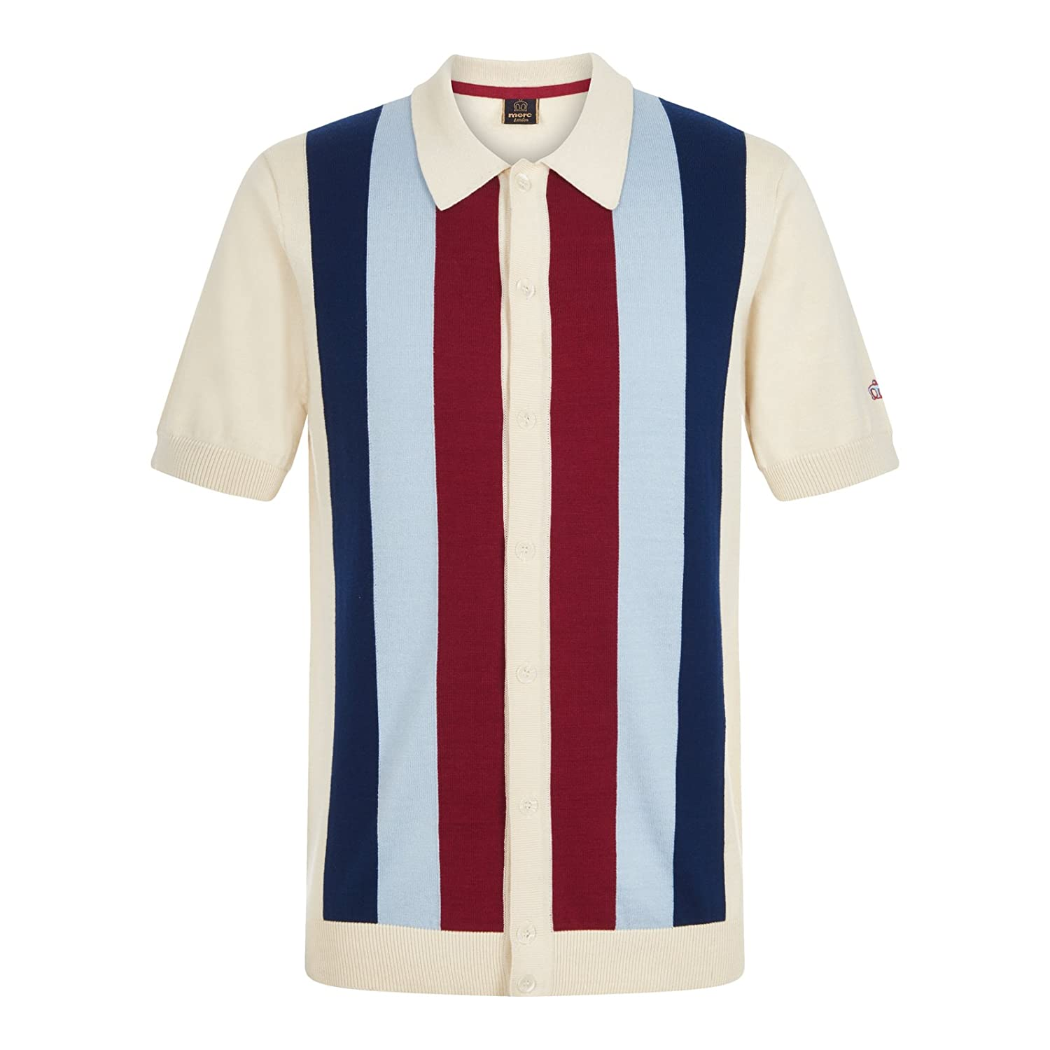 1950s Style Mens Shirts Merc Mens Upton Knit Stripe Polo Shirt Navy £65.00 AT vintagedancer.com
