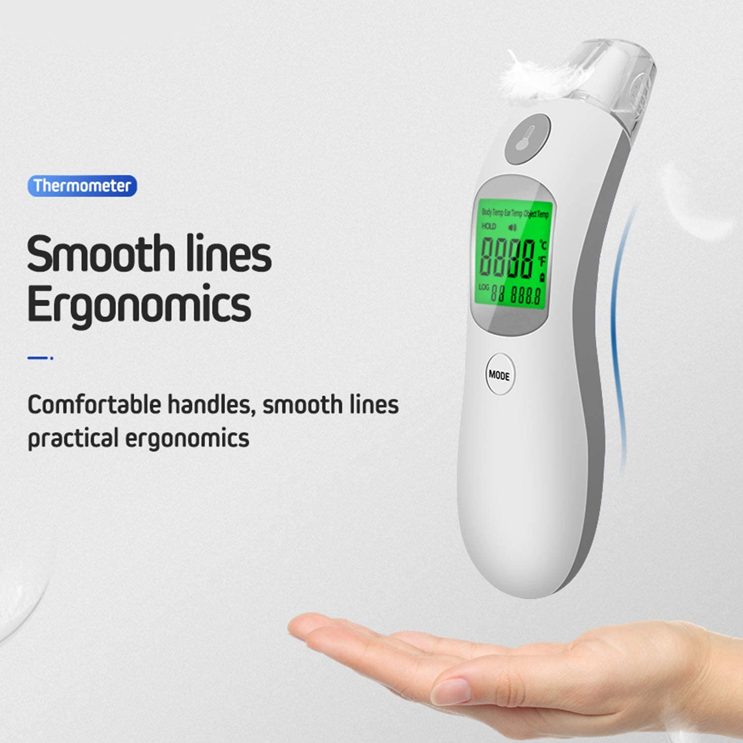 Portable Digital IR Infrared Ear Forehead Body Thermometer with Large LCD Display Screen for Adults Children Infants Toddlers Boys Girls Gray