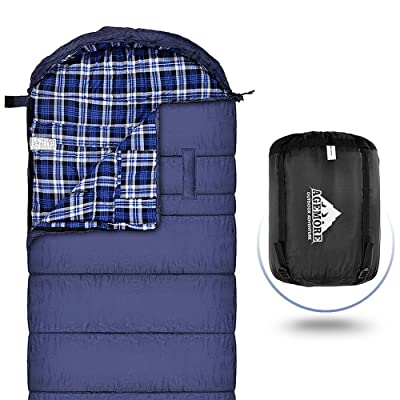 Sac de couchage en flanelle de coton pour adultes, 230x89cm XL, imperméable, idéal pour la randonnée, les voyages, le camping, la randonnée et les activités de plein air avec sac de compress