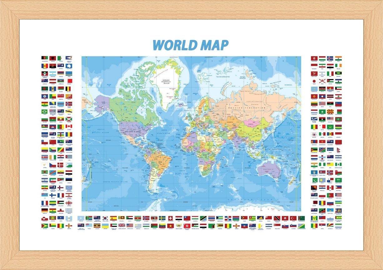 Modern Day World Map.Amazon Com Alonline Art Political Modern Flags World Map Beech