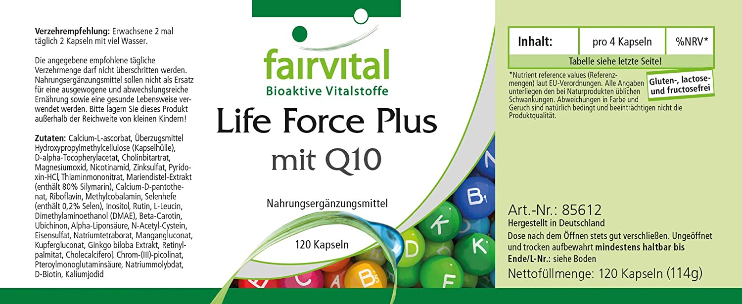 Lifeforce Plus con Q10- - ALTA DOSIS - 120 cápsulas ...