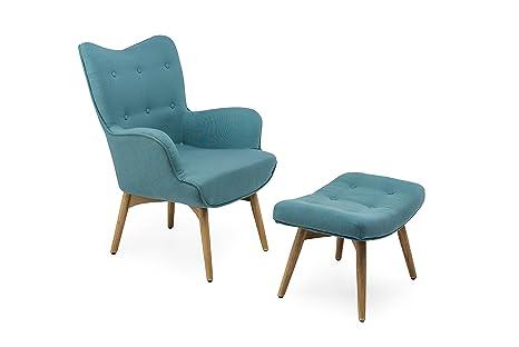 Poltrone Design In Offerta.Poltrona Con Puff Stile Scandinavo Design Vintage Colore Light Blue Con Piedi In Legno Naturale Promozione Lancio Offerta Online