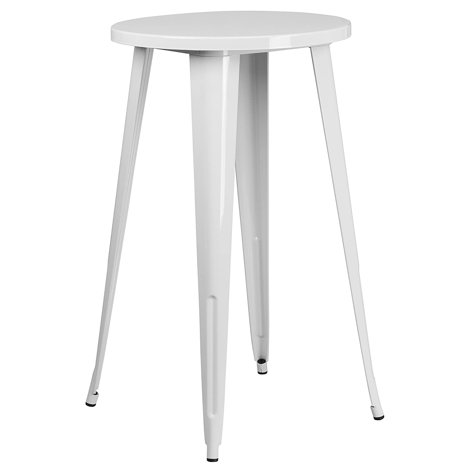 Terrific Flash Furniture 24 Round White Metal Indoor Outdoor Bar Height Table Pabps2019 Chair Design Images Pabps2019Com