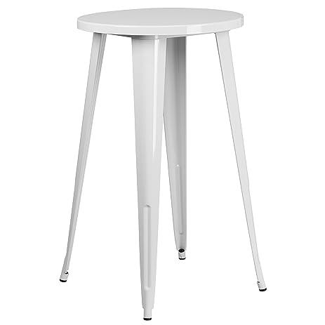 Flash Furniture 24u0027u0027 Round White Metal Indoor Outdoor Bar Height Table