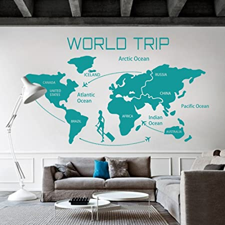 World travel map wall decal world country atlas the whole world world travel map wall decal world country atlas the whole world sticker vinyl wall map decor gumiabroncs Image collections