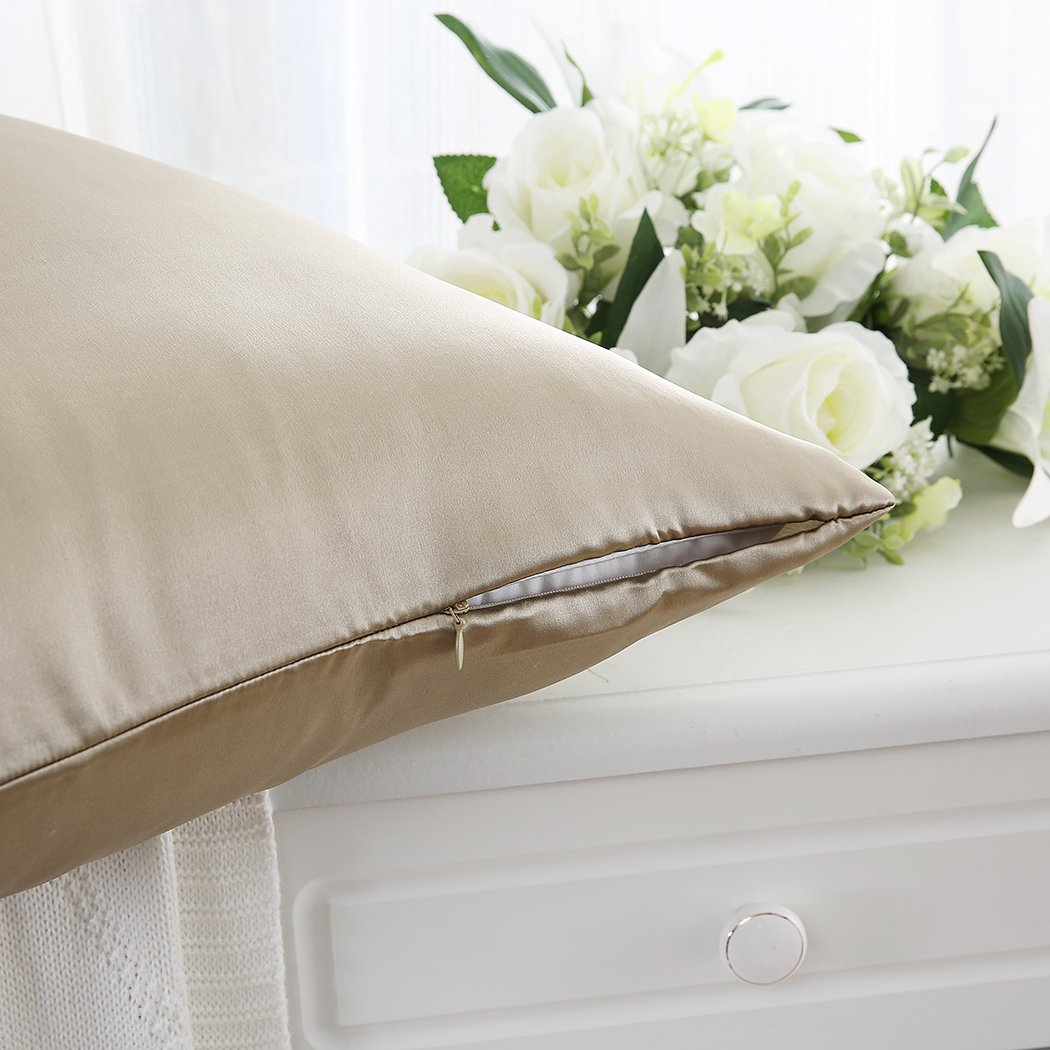 ZIMASILK 100% Mulberry Silk Pillowcase for Hair and Skin,with Hidden Zipper,Both Side 19 Momme Silk Taupe Gift Box