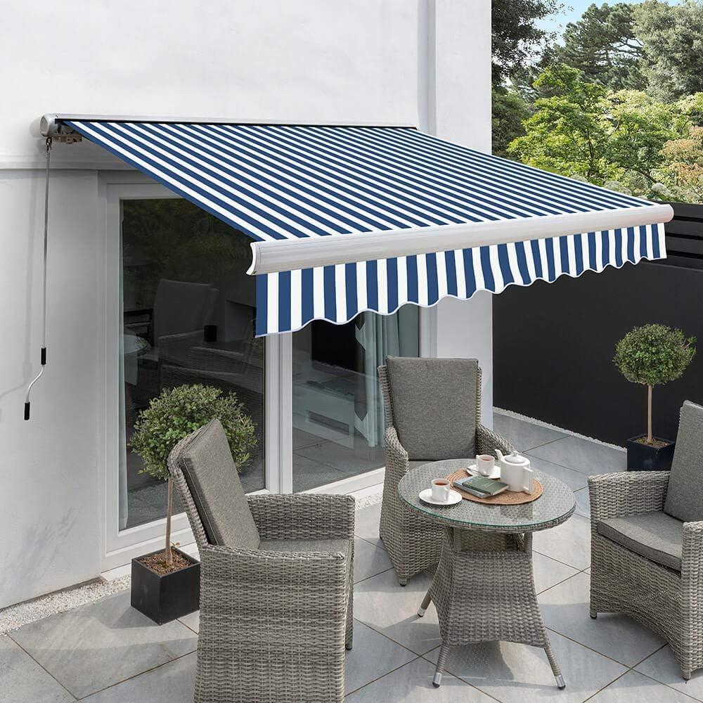 2, 5 m x 2 m de casete Full Manual diseño cilíndrico para toldo, Blue and White: Amazon.es: Jardín