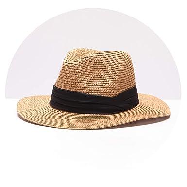081eff0c Summer Women's Hat Wide Brim Beach Sun Hat Panama Straw Hat Men Fedora Hat  Cap Sun