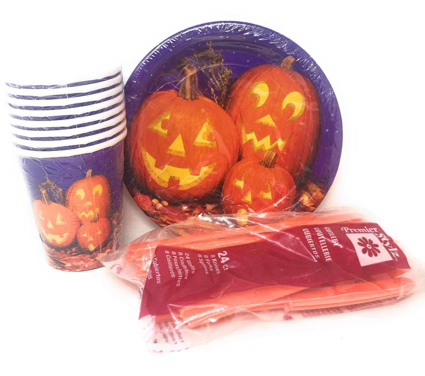Amazon.com: Halloween Party Supplies Value Pack of 32 Pumpkin Pals 7 Inch Round Halloween Plates: Health & Personal Care