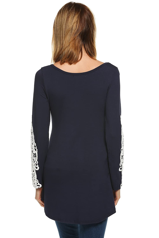 Finejo Women Comfy Long Sleeve Lace Decor Tunic Blouse Tops