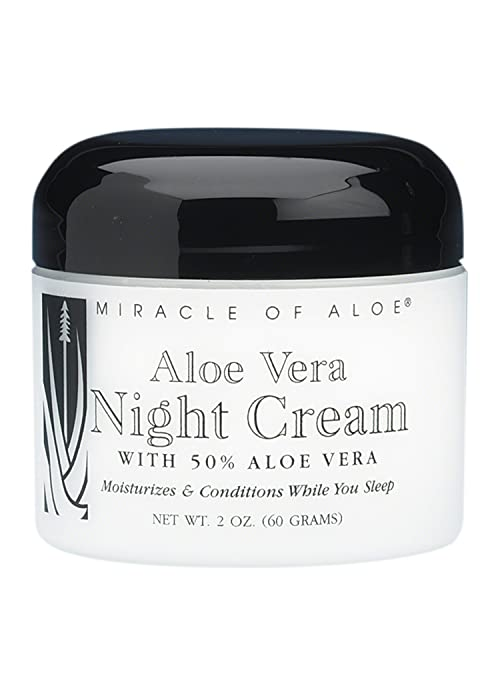 Miracle of Aloe Vera Night Cream 2 Oz. Penetrating Cream Restores and Nourishes Skin While You Sleep! Rich Skin Supplement Blended with 50% Pure Aloe Vera Gel. Helps Moisturize Your Skin While Reducing Unsightly Skin Blemishes and Minimizes Wrinkles and Puffiness. Fast Active Ingredients Allow for Cream to Deliver Visible Results Almost Instantly. Give the Youthful, Lovelier Appearance that Your Skin Needs! Acne, Eczema, Psoriasis, Rosacea, Dry Peeling Flaky Skin Solution, Dark Circles, Dark Spots.