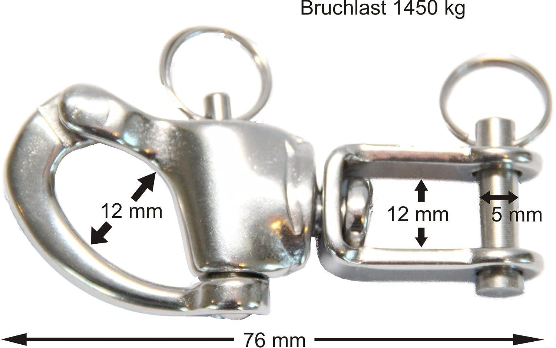 Schnappsch/äkel mit Wirbel und Bolzen Bruchlast 1450 kg