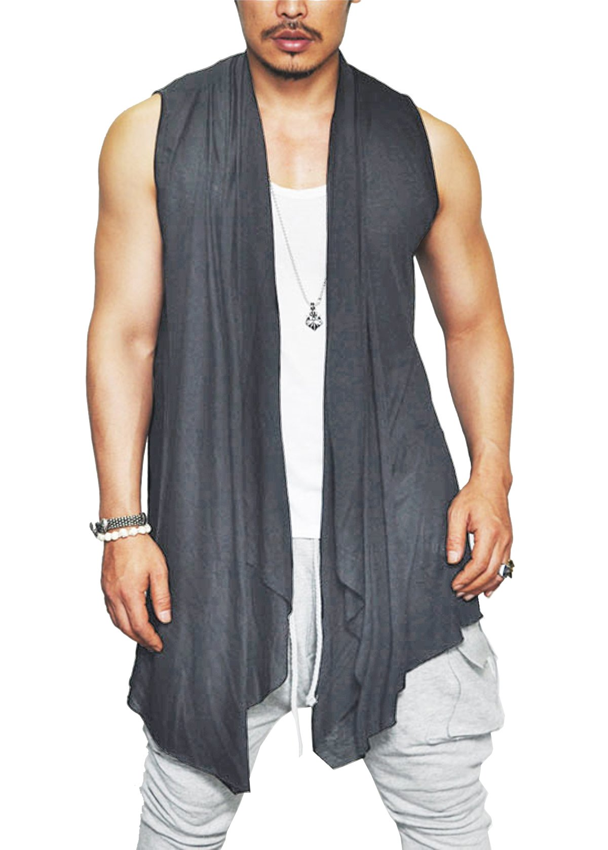 Coofandy Mens Ruffle Shawl Collar Sleeveless Long Cardigan Vest, Grey, Large