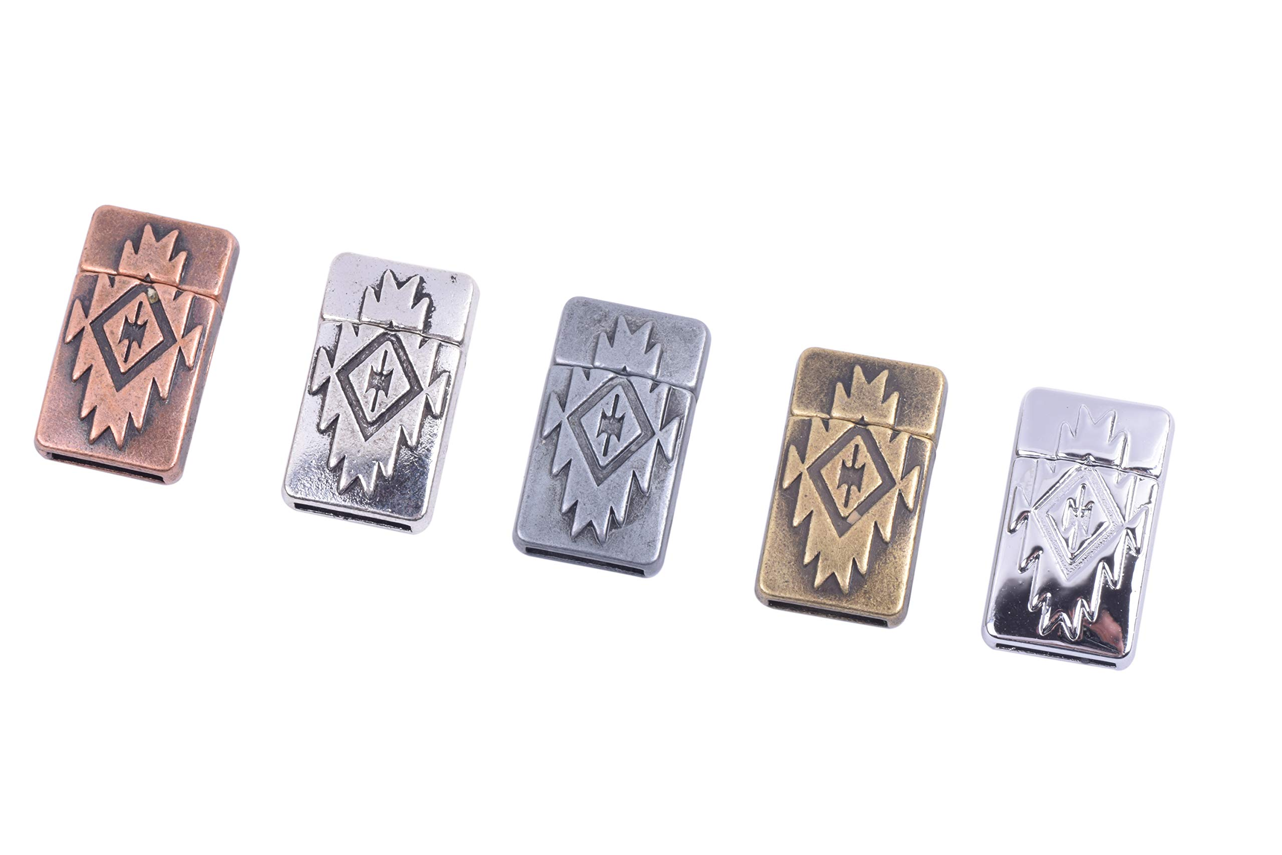 KONMAY 5 Sets 12.x2.0mm Antique Brass Glue-in Style Wave Engraved Jewelry Magnetic Clasps