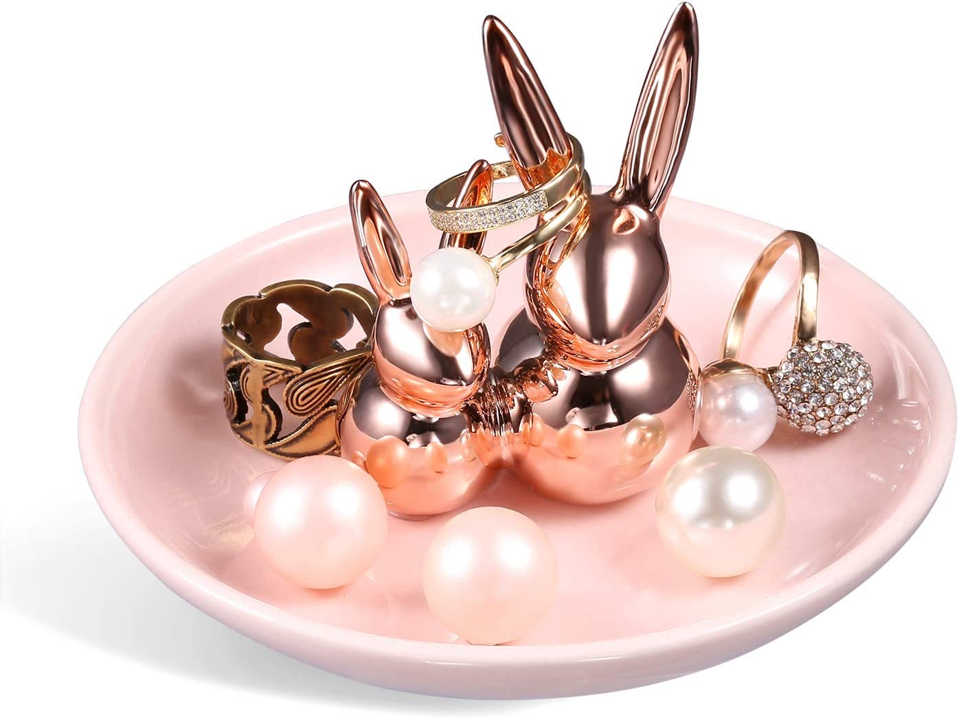 Cute Pair Rabbits Ring Holder for Mom Ceramic Dish Jewelry Tray Trinket Kitty Table Decor Stand Valentine Gift (Rose Gold)