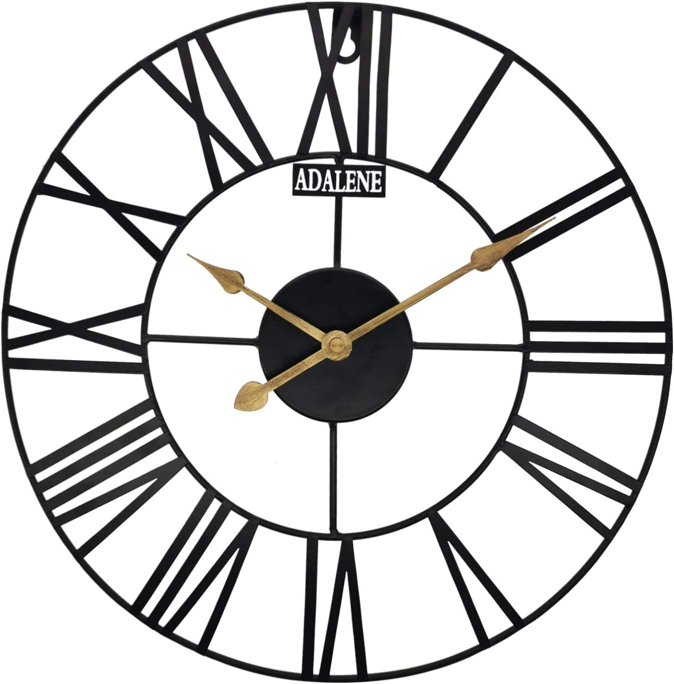 Adalene Wall Clocks Battery Operated 14 Inch Large Farmhouse Wall Clock, Vintage Rustic Wall Clock, Roman Numeral Numbers, Decorative Retro Large Outdoor Clock, Metal Wall Clocks for Living Room Décor