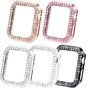 NewWays Bling Cases Compatible for Apple Watch 38mm 40mm 42mm 44mm, Protective Bumper for iWatch SE Series 6 5 4 3 2 1 (38mm, Black/Pink/Rose Gold/Silver/Clear)