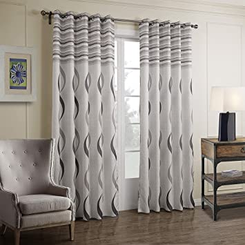 Amazon De Gwell Elegant Streifen Vorhang Blickdicht Schal Mit Osen