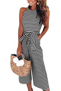 4a513283218 Alelly Women s Summer Jumpsuits Striped Tie Back Sleeveless Backless Wide  Long Pants Rompers