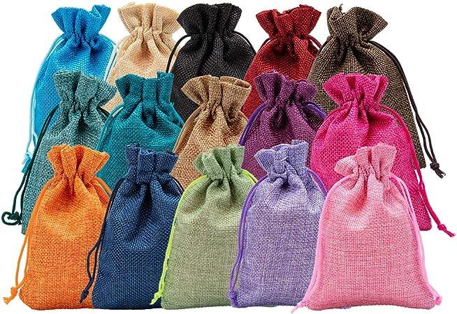 Imagen deBENECREAT 30 PCS 15 Colores Bolsas de Arpillera 14x10cm Bolsas de Regalo con Cordón Bolsa de Tela para Fiesta de Bodas y Artesanía de Bricolaje 2 PCS/Color